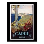 Poster del viaje del vintage de Capri, Italia Tarjeta Postal