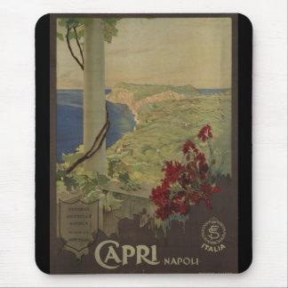 Poster del viaje del vintage de Capri Napoli Itali Mousepad