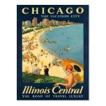 Poster del viaje del vintage de Chicago Tarjeta Postal