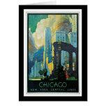 """Poster del viaje del vintage de """"Chicago"""" Tarjeton"""