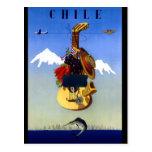 Poster del viaje del vintage de Chile Tarjeta Postal