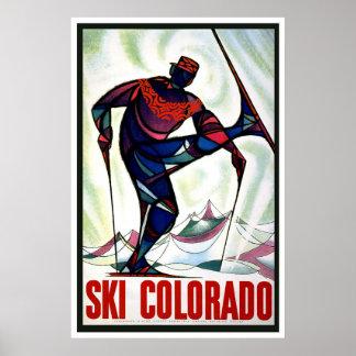 """""""Poster del viaje del vintage de Colorado del esqu Póster"""