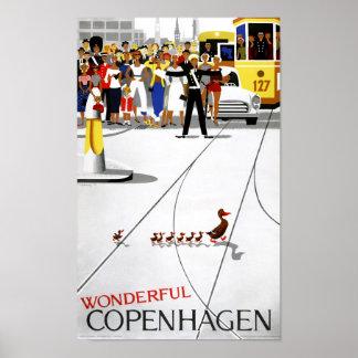 Poster del viaje del vintage de Copenhague