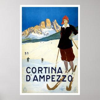 """Poster del viaje del vintage de """"Cortina d'Ampezzo"""