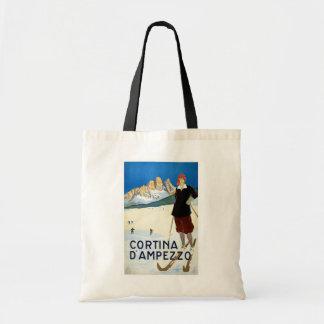 "Poster del viaje del vintage de ""Cortina d'Ampezzo Bolsa Lienzo"