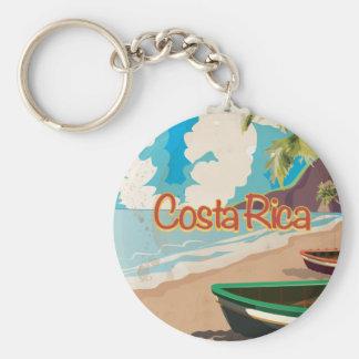Poster del viaje del vintage de Costa Rica Llavero Redondo Tipo Pin