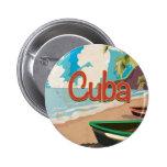 Poster del viaje del vintage de Cuba Pin Redondo 5 Cm