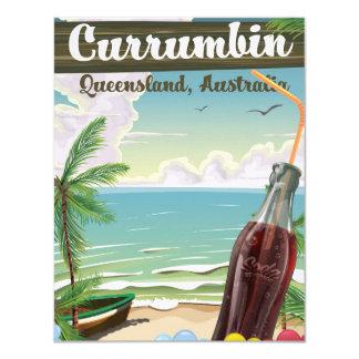 """Poster del viaje del vintage de Currumbin Invitación 4.25"""" X 5.5"""""""