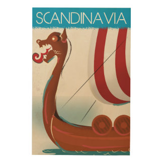 Poster del viaje del vintage de Escandinavia Impresiones En Madera