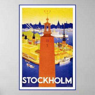 """Poster del viaje del vintage de """"Estocolmo"""""""