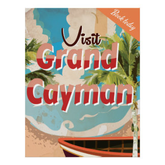 Poster del viaje del vintage de Gran Caimán