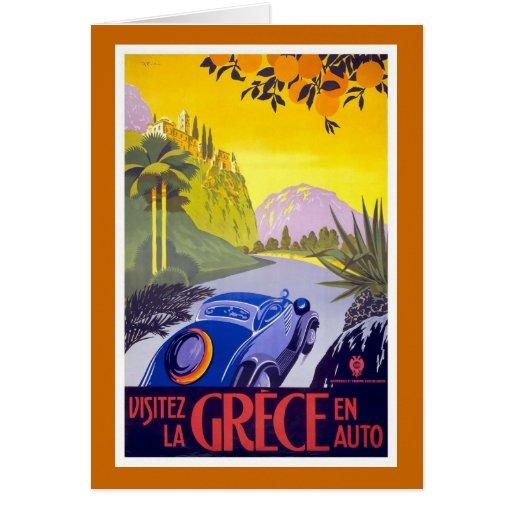 """""""Poster del viaje del vintage de Grece del la de Tarjeta De Felicitación"""