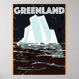 Poster del viaje del vintage de Groenlandia