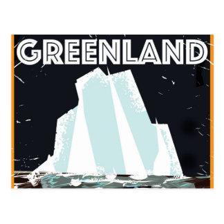 Poster del viaje del vintage de Groenlandia Tarjeta Postal