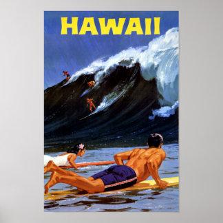 Poster del viaje del vintage de Hawaii restaurado