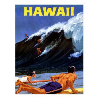 Poster del viaje del vintage de Hawaii restaurado Tarjetas Postales