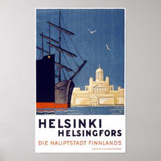 Poster del viaje del vintage de Helsinki