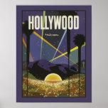 Poster del viaje del vintage de Hollywood Los