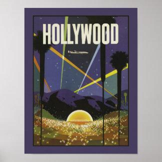 Poster del viaje del vintage de Hollywood Los Póster