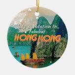 Poster del viaje del vintage de Hong Kong Ornamento De Navidad