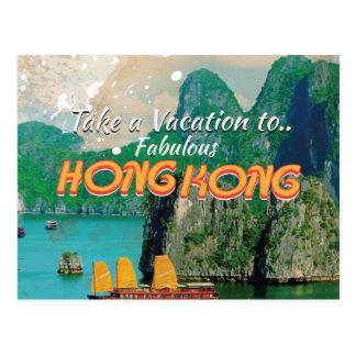 Poster del viaje del vintage de Hong Kong Postales