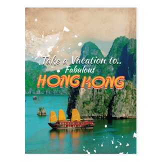 Poster del viaje del vintage de Hong Kong Tarjetas Postales