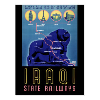 Poster del viaje del vintage de Iraq restaurado Postales