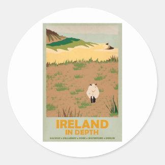 Poster del viaje del vintage de Irlanda de la Pegatinas Redondas