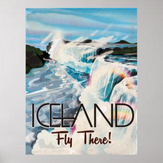 Poster del viaje del vintage de Islandia