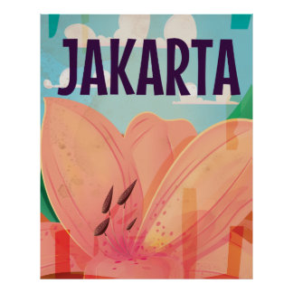Poster del viaje del vintage de Jakarta