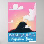 Poster del viaje del vintage de Japón del volcán