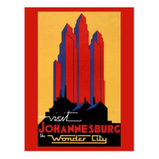 Poster del viaje del vintage de Johannesburg Postal