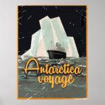 Poster del viaje del vintage de la Antártida