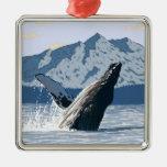 Poster del viaje del vintage de la ballena de Alas Ornamentos De Reyes Magos