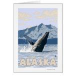 Poster del viaje del vintage de la ballena de Alas Tarjetón