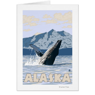 Poster del viaje del vintage de la ballena de Alas Tarjeta De Felicitación