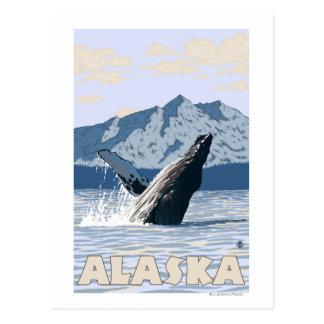 Poster del viaje del vintage de la ballena de Alas Tarjeta Postal