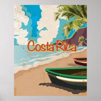 Poster del viaje del vintage de la playa de Costa