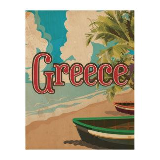 Poster del viaje del vintage de la playa de Grecia Impresión En Madera
