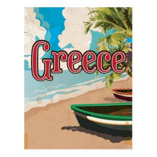 Poster del viaje del vintage de la playa de Grecia Postal
