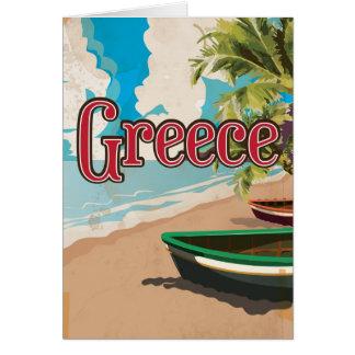 Poster del viaje del vintage de la playa de Grecia Tarjeta De Felicitación