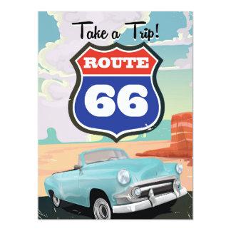 """Poster del viaje del vintage de la ruta 66 invitación 6.5"""" x 8.75"""""""