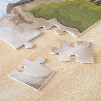 Poster del viaje del vintage de las cascadas de rompecabeza