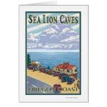 Poster del viaje del vintage de las cuevas del leó felicitación