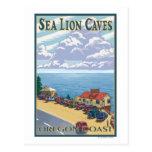 Poster del viaje del vintage de las cuevas del leó tarjeta postal