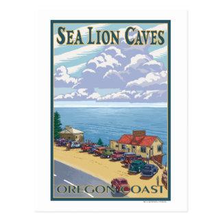 Poster del viaje del vintage de las cuevas del postal