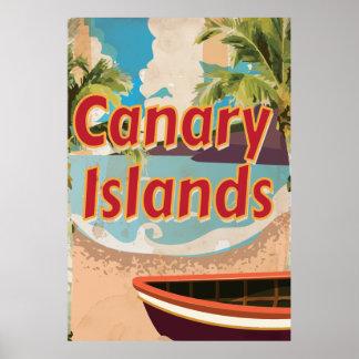 Poster del viaje del vintage de las islas Canarias