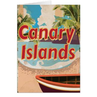 Poster del viaje del vintage de las islas Canarias Tarjeta De Felicitación