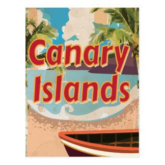 Poster del viaje del vintage de las islas Canarias Tarjeta Postal