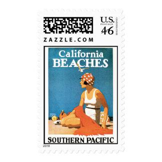 Poster del viaje del vintage de las playas de Cali Sello